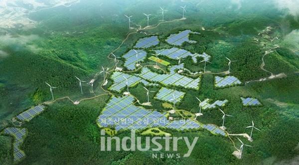 LS산전이 전남 영암군에 구축되는 사업비 1,848억원 규모 설비용량 93MW급 ESS(에너지저장장치) 연계 영암태양광발전소 구축 사업자에 선정됐다. 사진은 2020년 12월 준공 예정인 영암태양광발전소 조감도 [사진=LS산전]