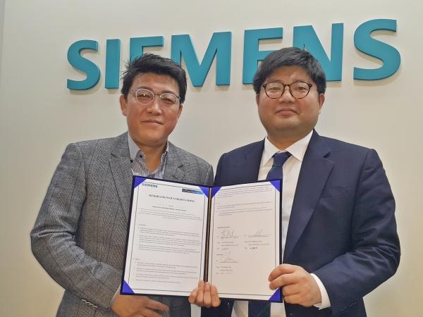 한국 지멘스 디지털 인더스트리 사업부와 선컨트롤이 3월 20일 기술협력으 위한 MOU를 체결했다. [사진=한국 지멘스]