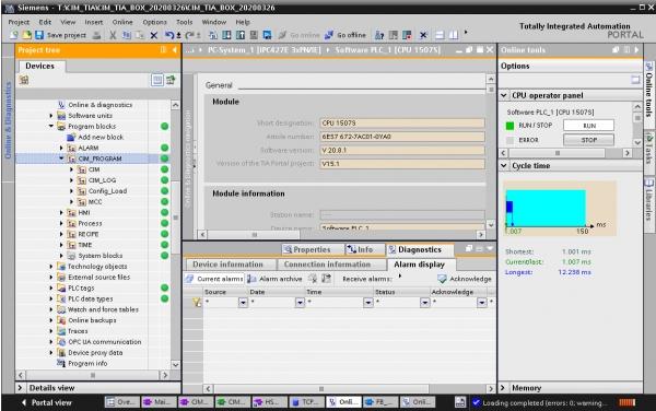 지멘스 통합 자동화 포탈(TIA Portal)상의 SECS/GEM 통신 라이브러리 적용 화면 [사진=한국지멘스]